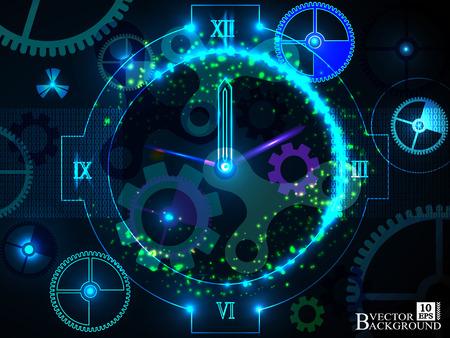 Composición de engranajes, de elementos del reloj, diales y swirly líneas dinámicas sobre el tema de los procesos de programación, temporales y tiempo relacionados, plazos, progreso, pasado, presente y future.Vector Ilustración de vector