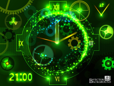 temporal: Composition of gears, clock elements, dials and dynamic swirly lines on the subject of scheduling, temporal and time related processes, deadlines, progress, past, present and future.Vector