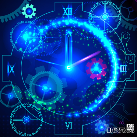 Composition of gears, clock elements, dials and dynamic swirly lines on the subject of scheduling, temporal and time related processes, deadlines, progress, past, present and future. Vector Vettoriali