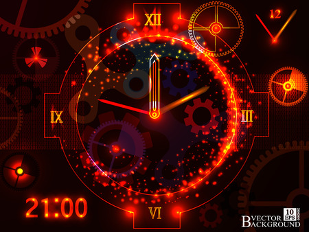 past: Composition of gears, clock elements, dials and dynamic swirly lines on the subject of scheduling, temporal and time related processes, deadlines, progress, past, present and future.Vector