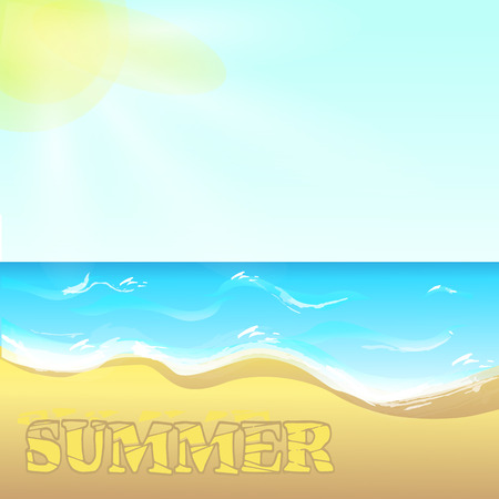 white sand beach: Summer background with sea view. Waves on the ocean and white sand beach