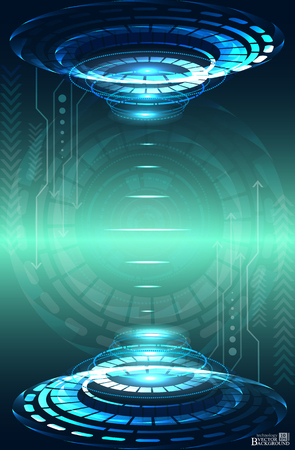 engineering and technology: Digital technology and engineering, digital telecoms technology concept, Abstract futuristic- technology on blue color background. Vector Illustration
