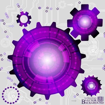 cogwheels: Vector abstract background with purple cogwheels Illustration