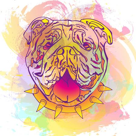 abstracta de la moda de acuarela de colores vector de fondo con Bulldog Inglés. perro de la manera