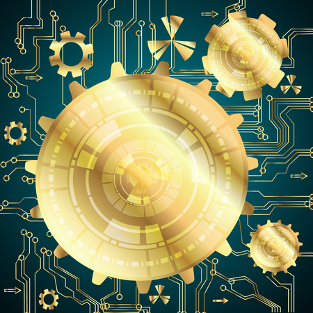 business service: Vector abstract dark blue background with gold cogwheels