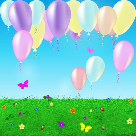 Tarjeta de cumpleaños con globos de colores y confeti en el paisaje soleado