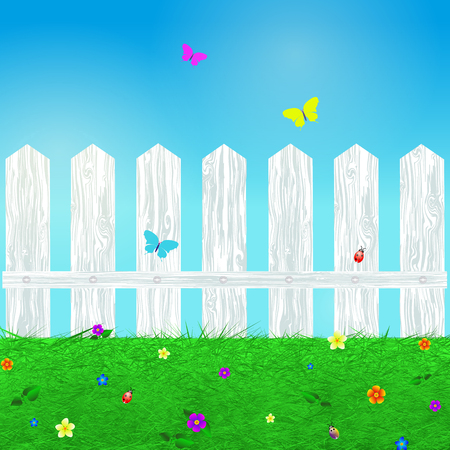 beetles: Spring background with grass, flowers, butterflies , beetles and wooden white fence, cartoon illustration.Vector