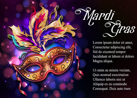 Mardi Gras mask, colorful poster, template, flyer with place for text. Vector illustration Ilustracja
