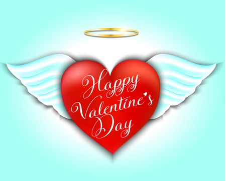 Happy Valentines Day Greeting Card. Red heart with angel wings and halo. Angelic love. Vector illustration