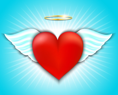 Happy Valentines Day Greeting Card. Red heart with angel wings and halo. Vector illustration