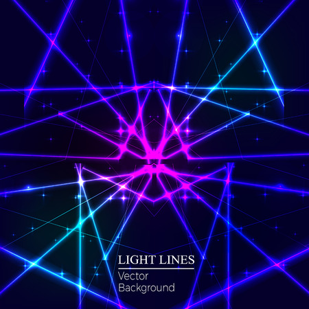 Blue random laser beams on dark background. Place for your text. Vector illustration