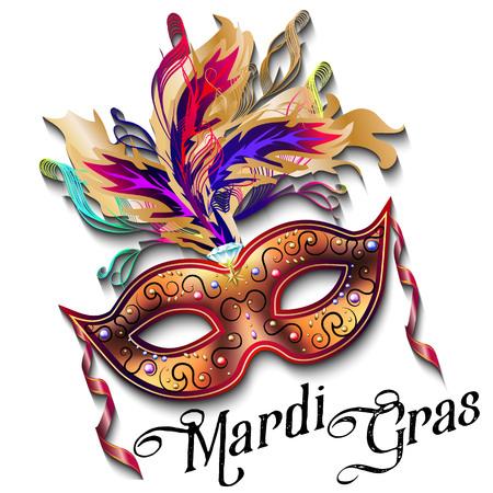 Mardi Gras-masker op witte achtergrond, kleurrijke affiche, malplaatje, vlieger wordt geïsoleerd die. Vector illustratie Stockfoto - 71809216