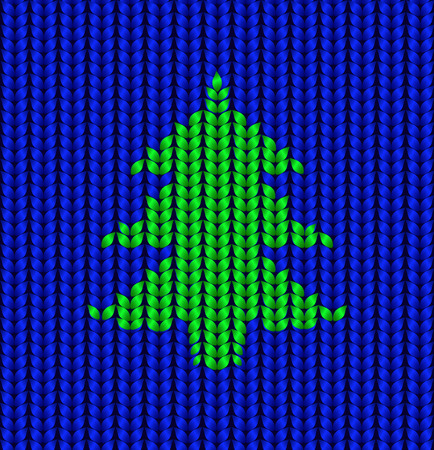 Realistic blue knit texture with christmas tree ornament. Vector seamless pattern
