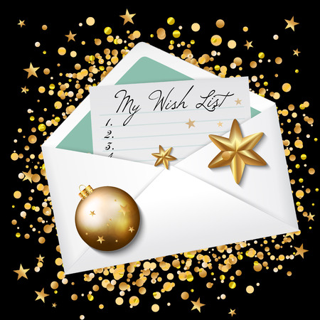 Open envelope with my wish list words. Wishes for new year 2017. Christmas background. Vector illustration
