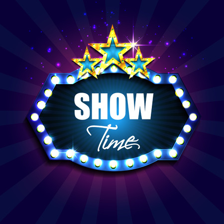 show time: Show time. Retro light sign. Vintage style banner with gold stars. Vector illustration Illustration