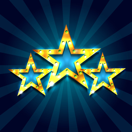 Retro light sign. Three gold stars on dark blue background with rays. Vintage style banner. Vector illustration
