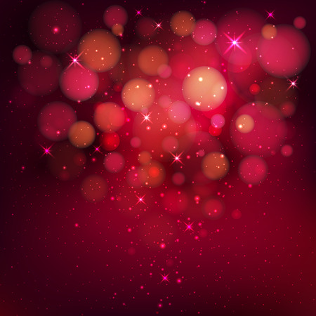 tinsel: Red Festive Christmas background. Elegant abstract background with bokeh defocused lights and stars. Vector illustration