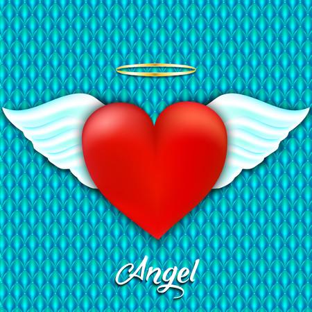 Corazón rojo con alas de ángel y halo. Amor angelical. Ilustración del vector Ilustración de vector