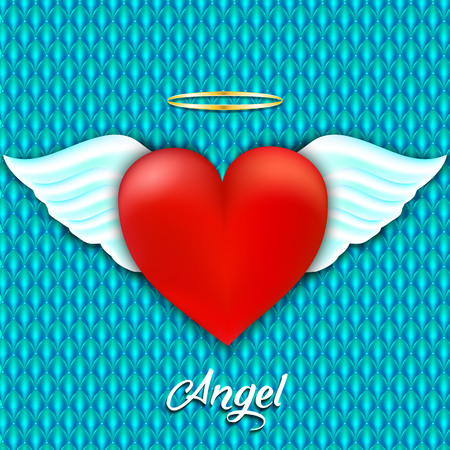 angelic: Red heart with angel wings and halo. Angelic love. Vector illustration Illustration