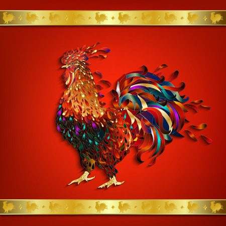 chinese new year card: Rooster with Golden ribbon ornament on red background. The symbol of the Chinese New Year 2017. Vector illustration