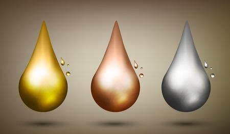 Set of drops. Oil liquid metal. Vector illustration