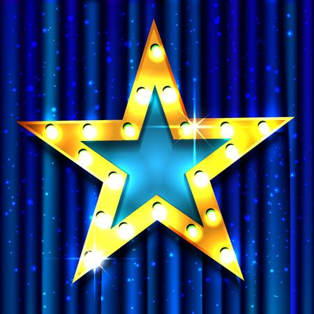 drapes: Retro light sign. Gold star. Vintage style banner. Vector illustration
