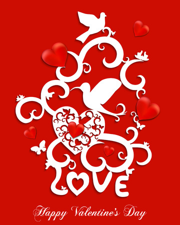 Happy Valentines Day Greeting Card. Abstract vector illustration of floral elegant birds in love with hearts. White objects isolated on red background. Illustration