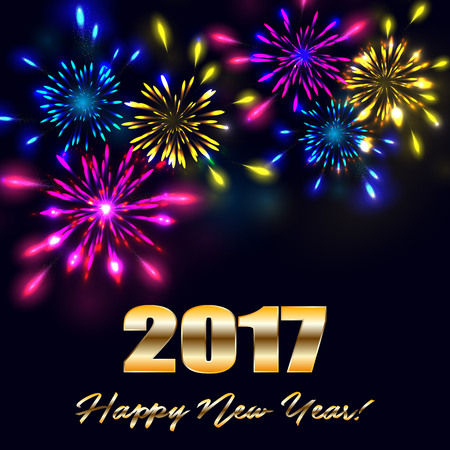 Fireworks for happy new year 2017. Vector illustration