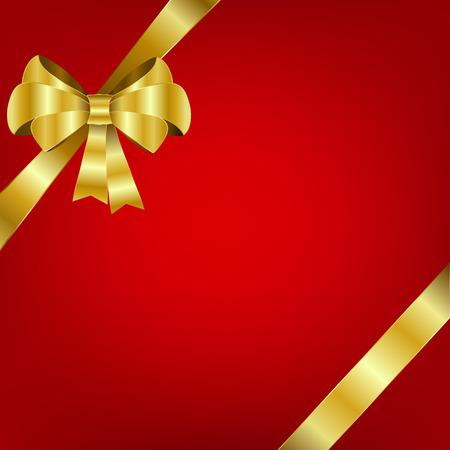 Arc d'or et ruban sur fond rouge. Illustration vectorielle de vacances. Élément de décoration pour la conception