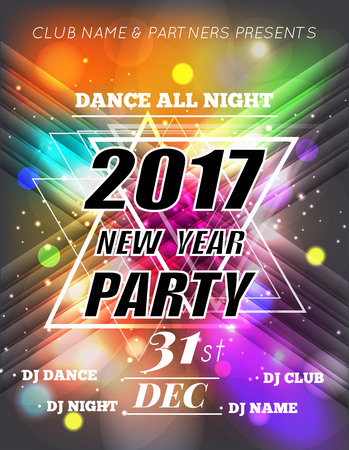 Christmas Party Poster. Happy 2017 New Year Flyer. New Year party design with multicolored bokeh lights backdrop. Vector illustration Stock Illustratie
