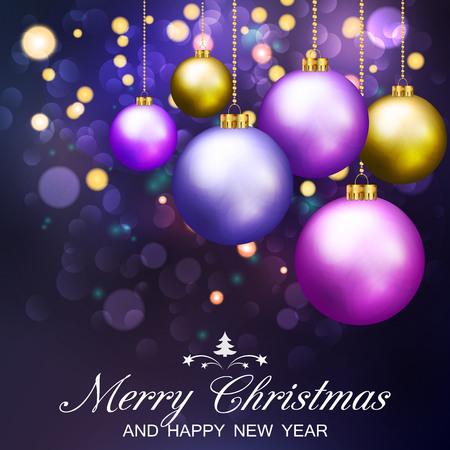 Christmas Background With Abstract Bokeh Lights and Christmas Balls. Vector illustration