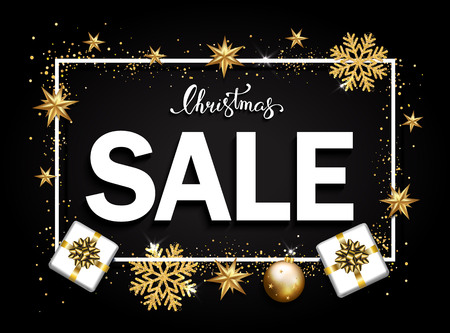 Christmas sale banner with gold stars, serpentine, bubbles on black pattern. 向量圖像