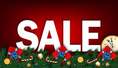 Christmas sale banner with clock, fir branches, gifts and candy cane on red background. Vector illustration