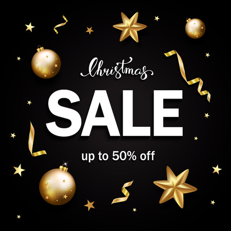 Christmas sale banner with gold glitter stars, serpentine, bubbles on black background. Christmas ornament decorations. Vector calligraphy lettering
