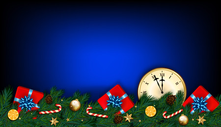 Happy New Year and Christmas card with clock, fir branches, gifts and candy cane on dark blue background. Vector illustration Illustration