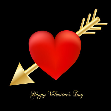 Happy Valentines day luxury greeting card. Red heart pierced by golden cupids arrow in Valentines day on black background. Illustration