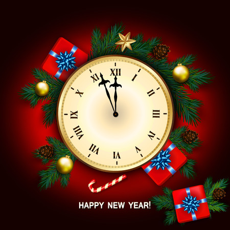 New Year card with clock, gift box, candy cane, pine branches decorated, gold stars and bubbles on dark red background. Illustration