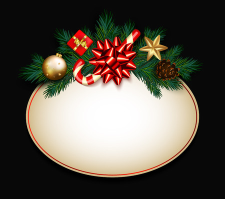 Christmas sale sign with fir branches, satin bow, candy cane, gift box, golden bubble and star on black illustration.