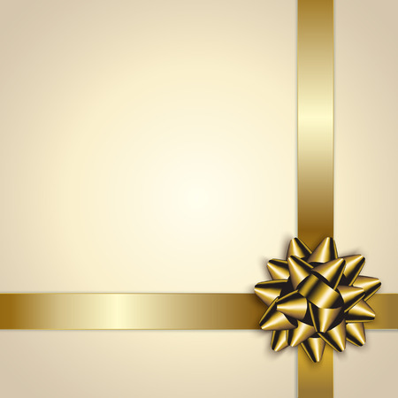 Gold Bow And Ribbon On Beige pattern
