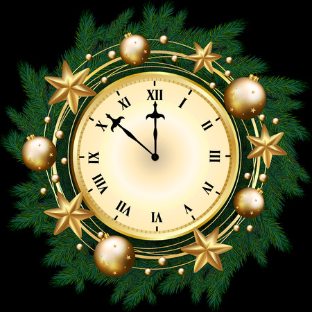 Merry Christmas banner with clock, pine branches decorated, gold stars and bubbles on black background. Vector illustration template greeting card