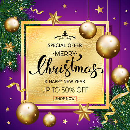 Merry Christmas sale banner with pine branches decorated, gold stars and bubbles on black pattern template. Vectores