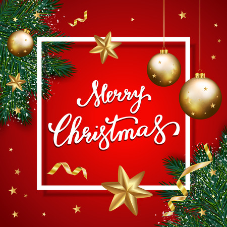 Merry Christmas lettering on red background,  christmas background with typography, christmas elements. Vector illustration