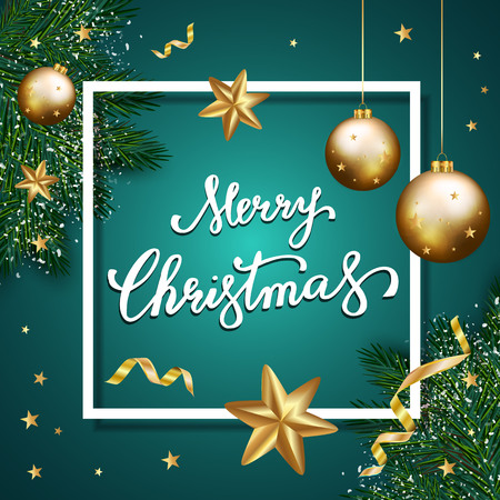 Merry Christmas lettering on blue background,  christmas background with typography, christmas elements. Vector illustration
