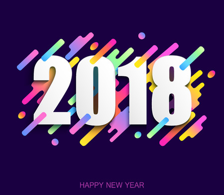 Happy new year 2018 creative design card on modern background.