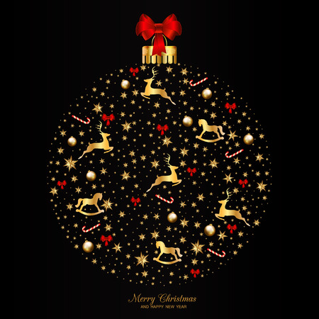 Christmas Greeting and New Years card templates with festive elements on black background vector illustration. Illustration