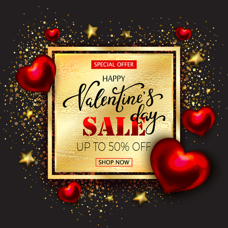 Valentines day sale elegant background  Golden and red realistic hearts with confetti glittering particles, gold stars. 3d vector illustration of metallic heart shape and hand lettering. Festive sign