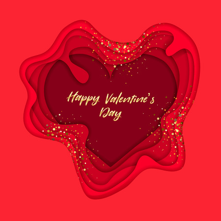 Valentines day on layered red paper cut realistic on red  background. Vector holiday