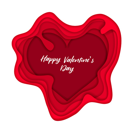 Valentines day on layered red paper cut realistic on white background. Vector holiday