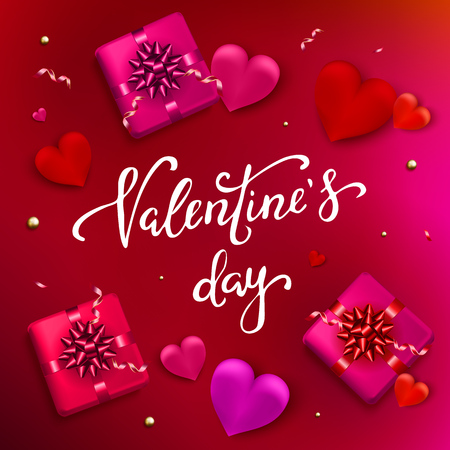 Valentines day holiday banner. Red  hearts with gift boxes, confetti and hand lettering. Festive sign. Vector