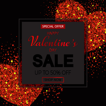 Valentines day sale banner with red sparkles bright hearts on black background. Wallpaper. flyers, invitation, posters, brochure. Vector illustration